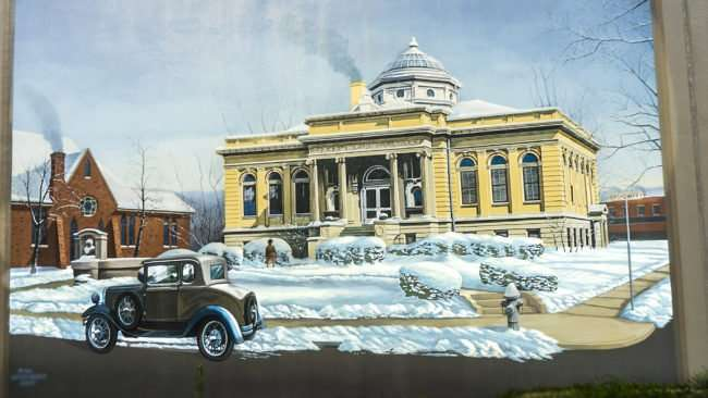 Mar 24, 2017 - Floodwall mural of snowy Carnegie Library of Paducah KY/photonews247.com