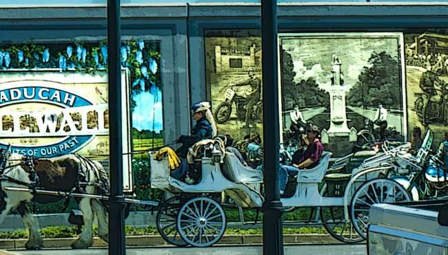 April 8, 2017 - Horse and buggy ride along Paducah Floodwall Murals (image animated to make people unrecognizable for their privacy)/photonews247.com