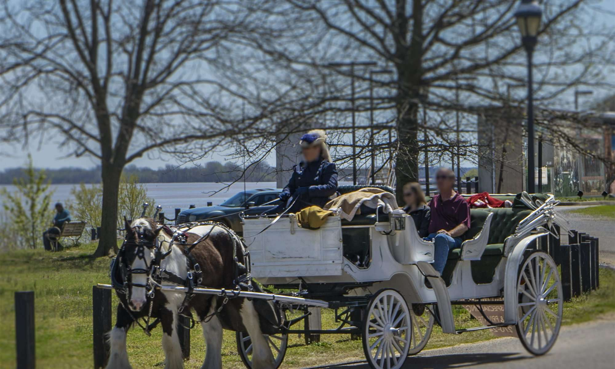 April 8, 2017 - Horse and buggy ride with tour gide along the Ohio River in Paducah(faces blurred for privacy)/photonews247.com