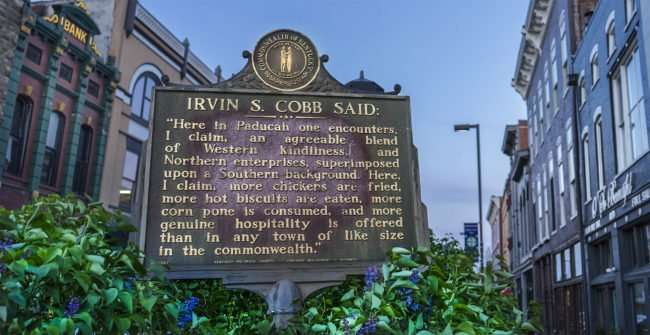 04.06.2017 - Irvin S Cobb historic marker outside of Highwater Fresh Bar on 3rd and Broadway, Paducah, KY/photonews247.com