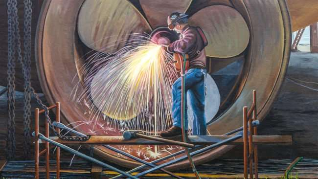April 3, 2017 - Paducah Floodwall Mural man welding ship propeller/photonews247.com