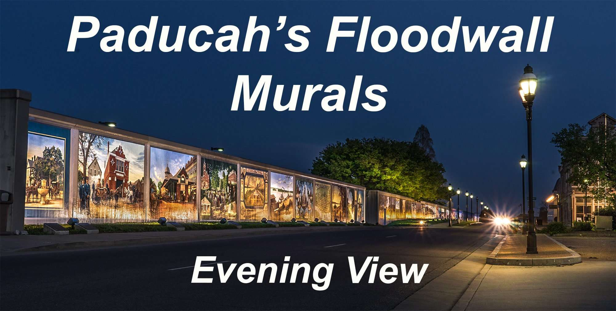 04.04.2017 - Paducah Floodwall Murals S Waters Street at night time/photonews247.com