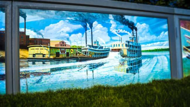 May 25, 2017 - Paducah Floodwall Murals, steamboats, downtown Paducah, KY/photonews247.com
