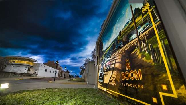 "March 27, 2018 - Paducah Floodwall Mural, ""The A Boom in Paducah"" /photonews247.com"