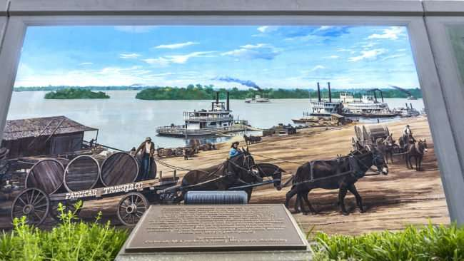 April 14, 2017 - Paducah floodwall mural with boats and commerce during the 1800s on the Ohio River/photonews247.com