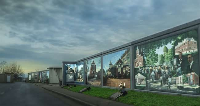 Mar 24, 2017 - Paducah floodwall murals at dusk/photonews247.com