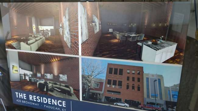 April 8, 2017 - The Residence rendering posted on building at 420 Broadway St, Paducah, KY/photonews247.com