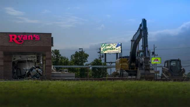 May 25, 2017 - Demolition of Ryan's making way for LongHorn Steakhouse, Hinkleville Rd, Paducah, KY/photonews247.com