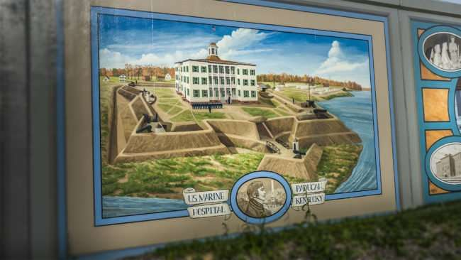 Mar 24, 2017 - flood wall mural painting on US Marine Hospital Paducah KY/photonews247.com