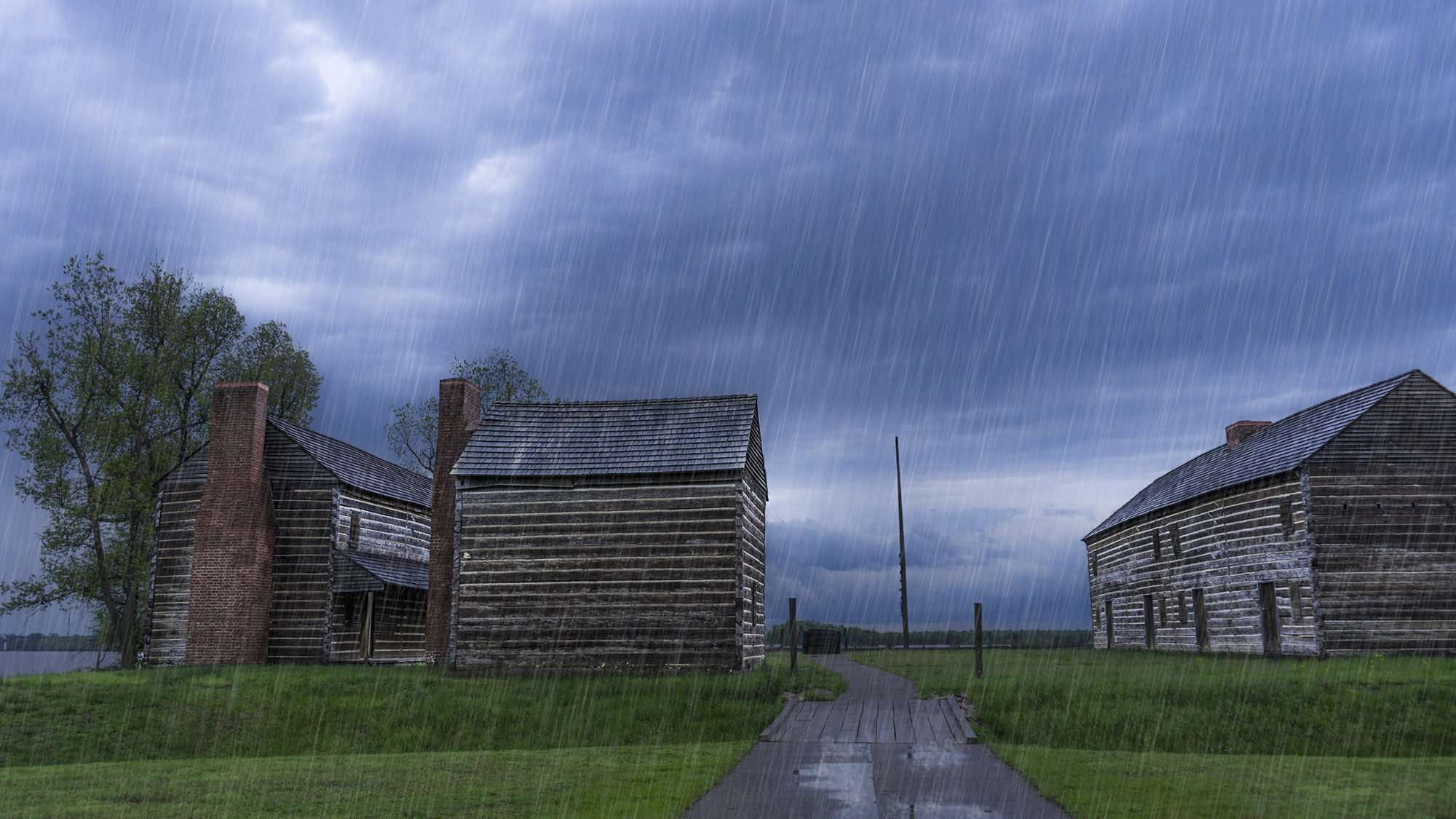 April 20, 2017 - 1802 American fort with Ohio River in background at Fort Massac State Park, Metropolis, IL rain/photonews247.com