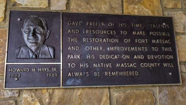 April 20, 2017 - Dedication plate in Fort Massac State Park for Howard H Hayes Sr 1883-1969/photonews247.com