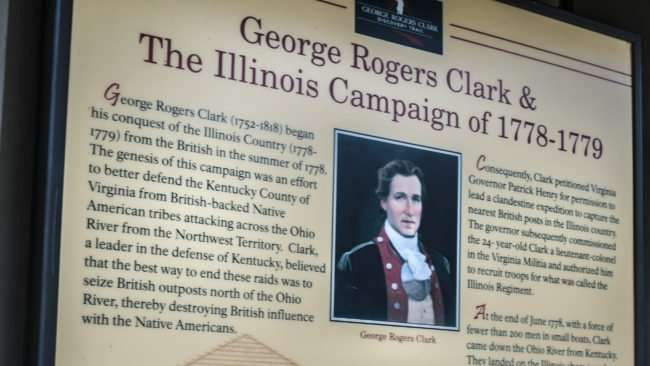 April 26, 2017 - George Rogers Clark poster with history at Ft Massac State Park, Metropolis/photonews247.com