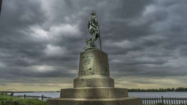 April 26, 2017 - George Rogers Clark statue looking over Ohio River at Fort Massac State Park/photonews247.com