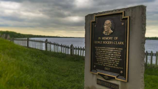 April 25, 2017 - Memorial plate for George Rogers Clark at the Ohio River in Ft Massac State Park, Metropolis, IL/photonews247.com