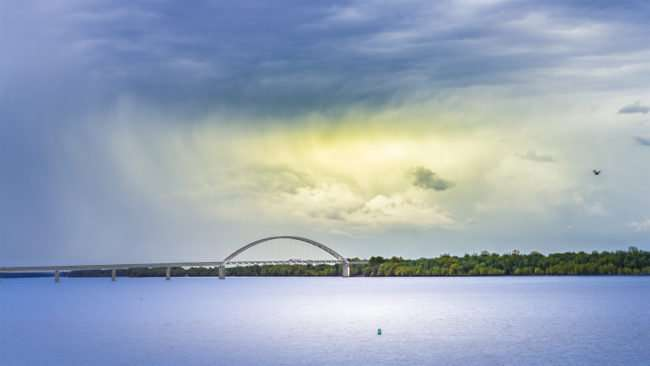 April 20, 2017 - Ohio River with I-24 bridge going across Ohio River from Fort Massac Metropolis, IL/photonews247.com