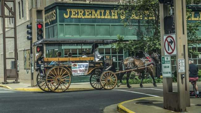 April 29, 2017 - Quilt In A Day provides horse and buggy as free trolley for Quilt Week 2017 Spring/photonews247.com