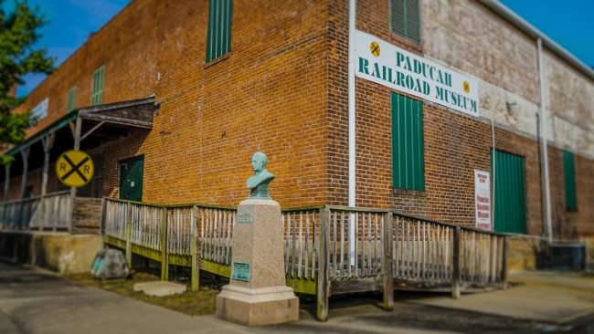May 18, 2017 Bust statue of Charles H Markham in front of Paducah Railroad Museum/photonews247.com