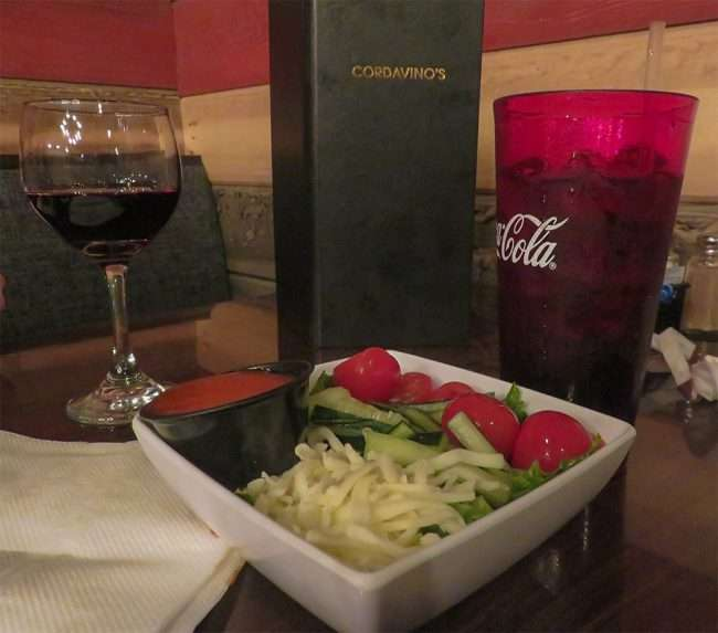 Jan 20, 2018 - Cordavino's Salad, Red Wine, Coke, Metropolis, IL/photonews247.com