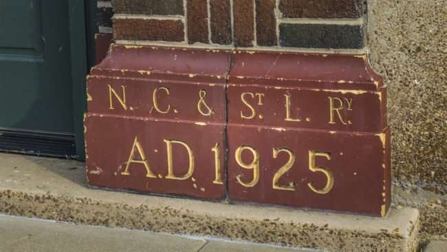 May 18, 2017 - Paducah Area Chamber of Commerce in former 1925 Railroad Freight Depot with markings on door NC & St L Ry 1925/photonews247.com