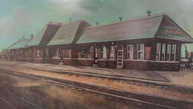 April 6, 2017 - Paducah Depot painting by Polly Newman donated to the Paducah Railroad Museum by David R. Kelser and the Paducah Breakfast Lions Club 2000/photonews247.com