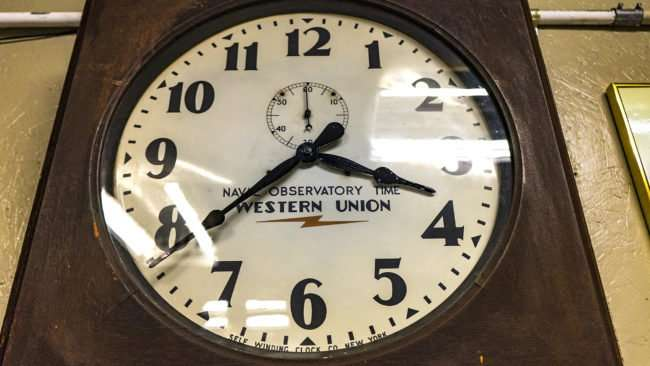 April 6, 2017 - Self Winding Clock Co New York - antiquated Naval Observatory Time Western Union hanging on wall at Paducah Railroad Museum/photonews247.com