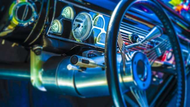 June 11, 2017 - 1940 Ford Delux Coupe inside dash at Super Cruise Night 2017 car show in Washington Park, Metropolis, IL/photonews247.com
