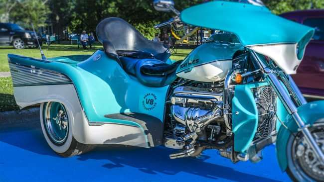 June 9, 2017 - Boss Hoss three wheel Motorcycle with V8 at Super Cruise Night 2017 car show in Washington Park, Metropolis, IL/photonews247.com