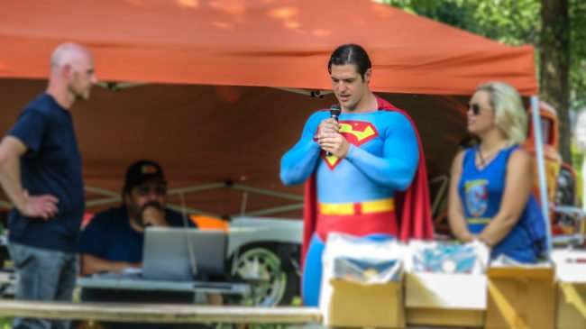 June 11, 2017 - Honorary Superman announcing winners the Metropolis Rotary Club's 31st Super Car Show in Fort Massac Park in Metropolis, IL/photonews247.com