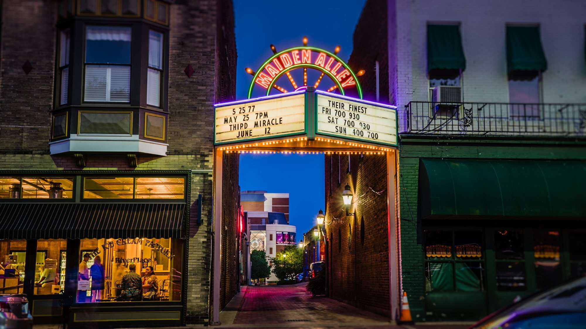 June 2, 2017 - Maiden Alley Cinema marquee next to The Ice Cream Factory, downtown Paducah, FL/photonews247.com