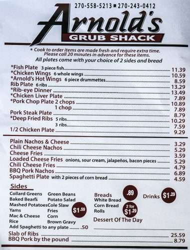 Sept 14, 2017 - Menu pg 1 Arnolds Grub Shack Paducah, KY/photonews247.com