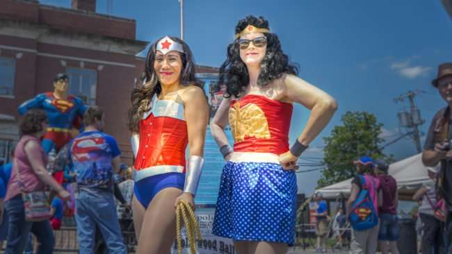 June 10, 2017 - Two beautiful ladies as Superheros on Market Street at Metropolis Super Con during Superman Celebration 2017, Metropolis, IL/photonews247.com