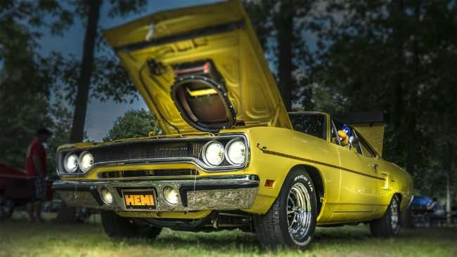 June 11, 2017 - Yellow Hemi Road Runner with stuffed Road Runner at wheel at 31st Annual Super Car Show in Fort Massac Park presented by the Metropolis Rotary Club /photonews247.com