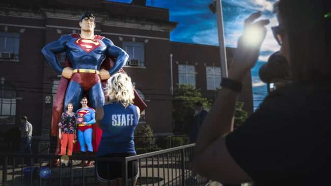 June 8, 2017 - Young lady receives award from Superman at Superman Celebration 2017 Metropolis, IL/photonews247.com