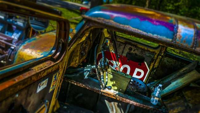 June 11, 2017 - Rebarb used for steering wheel on apocalyptic Mad Max car at the 31st Annual Super Car Show in Ft. Massac St. Park presented by Metropolis Rotary Club in Metropolis, IL/photonews247.com