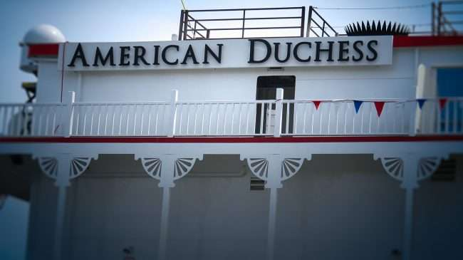 Aug 25, 2017 - American Duchess name on top floor of Sundeck shown here while docked in, downtown Paducah, KY/photonews247.com