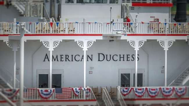 Aug 25, 2017 - American Duchess logo embedded on front of riverboat shown here while docked at the Port of Paducah's riverfront area at the Foot of Broadway in downtown/photonews247.com