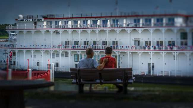 Aug 25, 2017 - The American Duchess riverboat cruise ship makes first voyage to Downtown Paducah shown here with cute romantic couple on bench enjoying its splendor on the riverfront/photonews247.com
