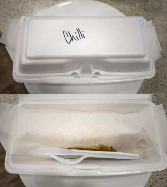 Aug 8, 2017 - Miltons Chili Dog packaged neatly in separate containers, Market Street, Metropolis, IL/photonews247.com