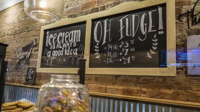 Nov 6, 2017 - Sissy's Sweet Shoppe showing Fudge prices on chalkboard, Market Street, Metropolis, IL/photonews247.com
