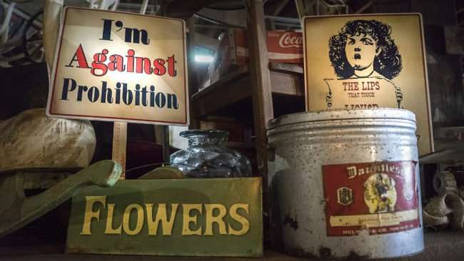 """Aug 3, 2017 - Sign reads """"I'm Against Prohibition"""" at Moonshine Distillery atPaducah Distilled Spirits/photonews247.com"""