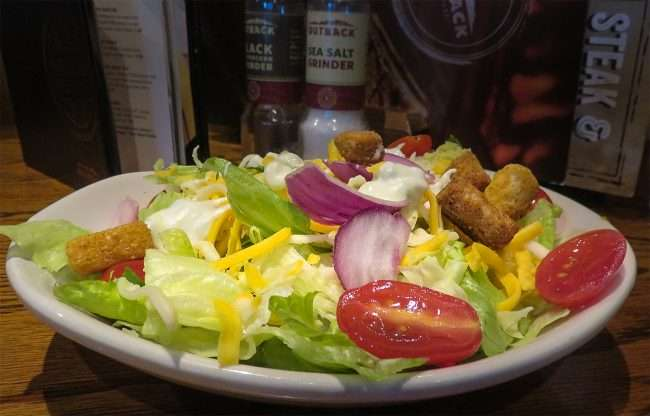 Delicious Freshly cut salad at the Outback Steakhouse restaurant on Hinkleville Road at I-24 in Paducah, KY/photonews247.com
