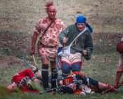 Oct 21, 2017 - Indians walk by dead soldiers at 44th Annual Fort Massac Encampment 2017/photonews247.com