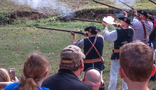 Oct 21, 2017 - Muskets fire flames in war games during 44th Annual Fort Massac Encampment 2017/photonews247.com