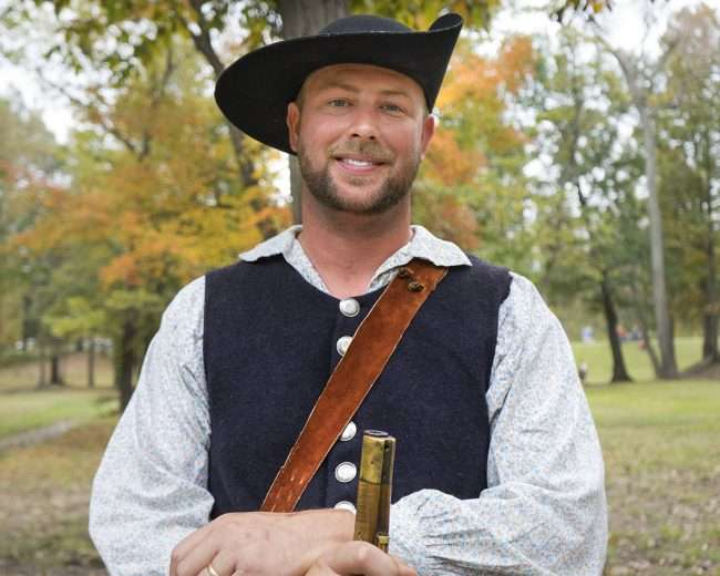 Oct 22, 2017 - Reenactor is well after mock battle during Fort Massac Encampment, Metropolis, IL/photonews247.com
