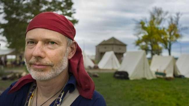 Oct 22, 2017 - Reenactor with head scarfe at Fort Massac Encampment, Metropolis, IL/photonfews247.com