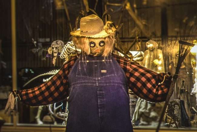 Oct 26, 2017 - Scarecrow at Super City Antique, Market Street, Metropolis, IL/photonews247.com