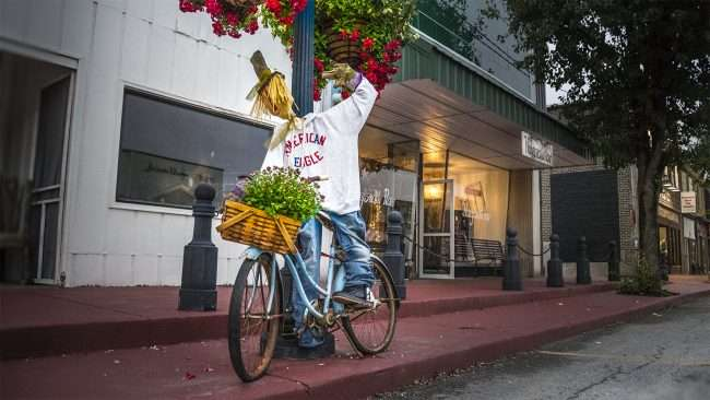 Oct 8, 2017 - Scarecrow decoration at Honeysuckle Raw, Market St, Metropolis, IL/photonews247.com