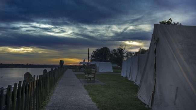 Oct 20, 2017 - Tents lined up along Ohio River during Fort Massac Encampment, Metropolis, IL/photonews247.com