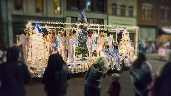 Dec 2, 2017 - Angels on float during Let it Glow Christmas Parade in historic Downtown Paducah/photonews247.com
