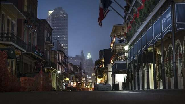 Dec 21, 2017 Construction outside Four Point Sheraton on Bourbon Street, New Orleans, LA/photonews247.com